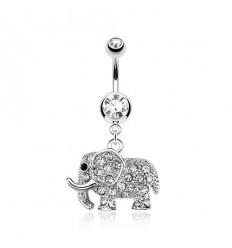 Navlepiercing med Elefant og Klare Sten