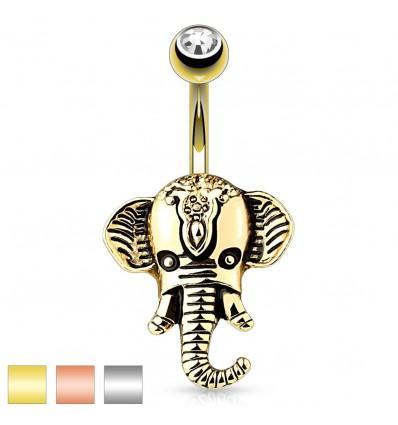 Navlepiercing med Elefant