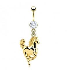 Navlepiercing med Guldfarvet Hest