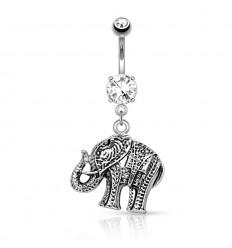 Navlepiercing med Stål Elefant