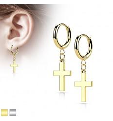 Runde Øreringe med Lille Kors