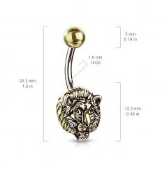 Navlepiercing med Løve